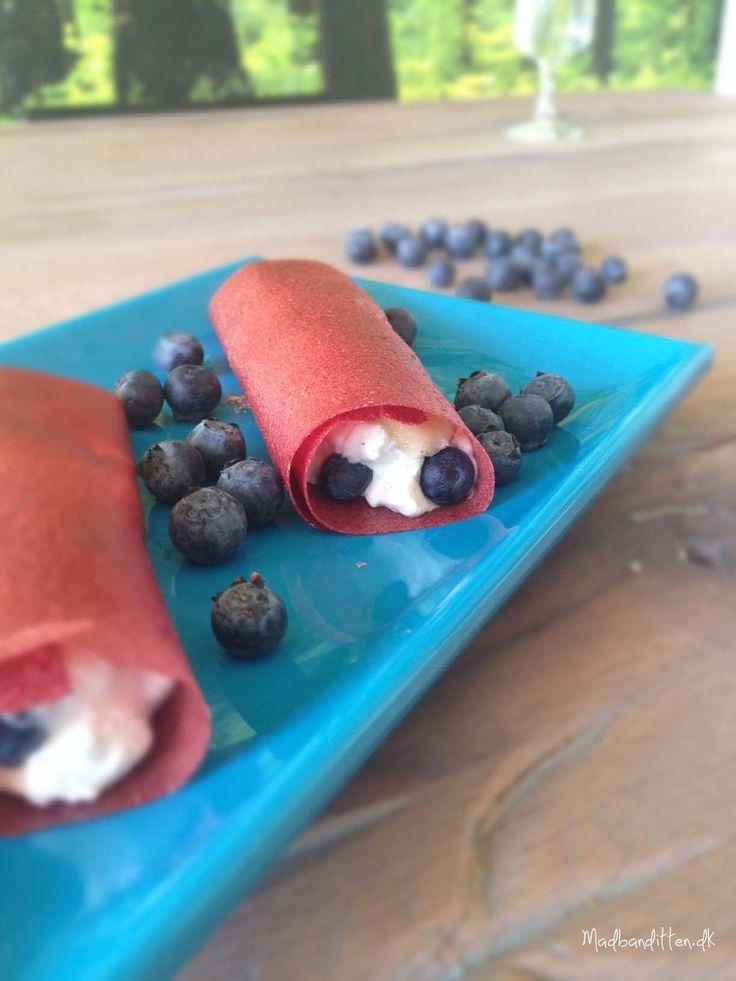 Frugtlæder med blåbær-banan-hytteost-fyld