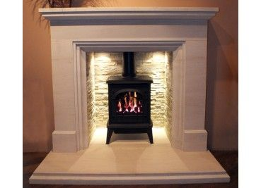 Woodburning stove with fireplace lighting