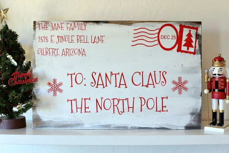 Personalize your very own oversized Santa Letter Wood Sign with your own home address!