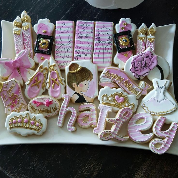 Hailey's watercolor ballet birthday party cookie set by The Painted Box