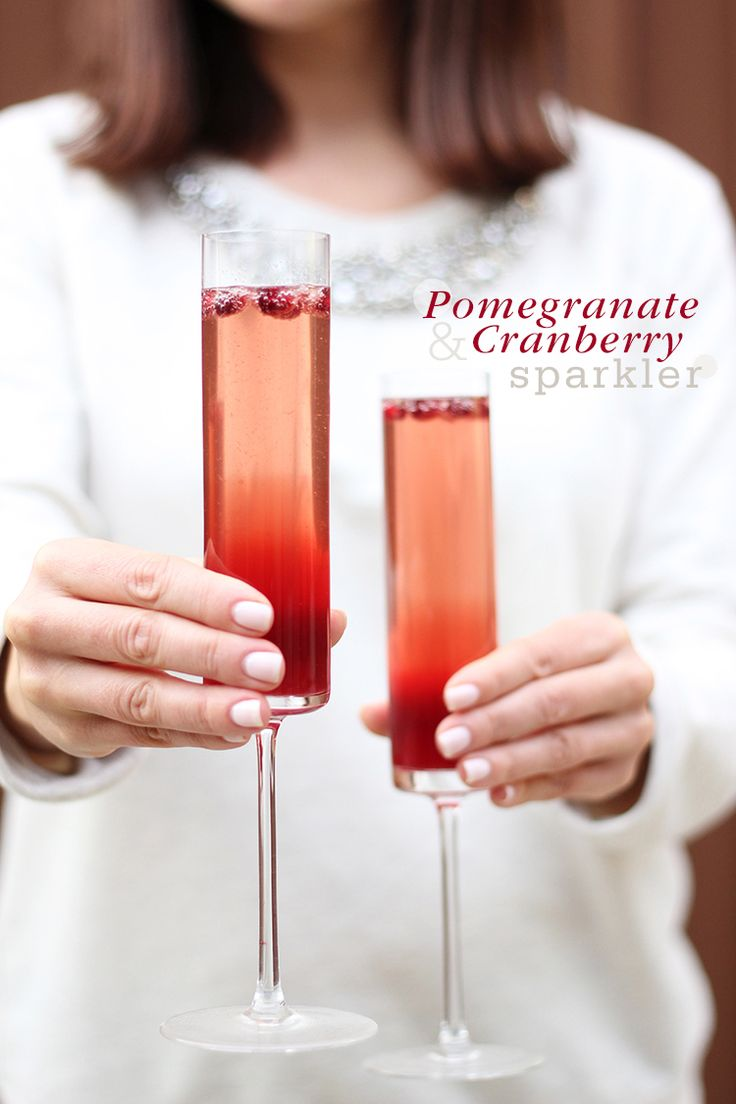 Pomegranate-Cranberry Sparklers are perfect for Thanksgiving dinner.
