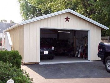 """Building Kit Starting at:$ 10,999 *Price will vary by region  Gable Pole Building Garage Building Kit 30′ x 40′ x 12′ Eave Charcoal Roof, Brite White Sides/Trim Optional Items  Insulated Roof (1) 16' x 10' Overhead Door 3' Entry Door (4) 4' x 3' Windows 18"""" Enclosed Overhangs-4 sides *Designed to meet local building code"""