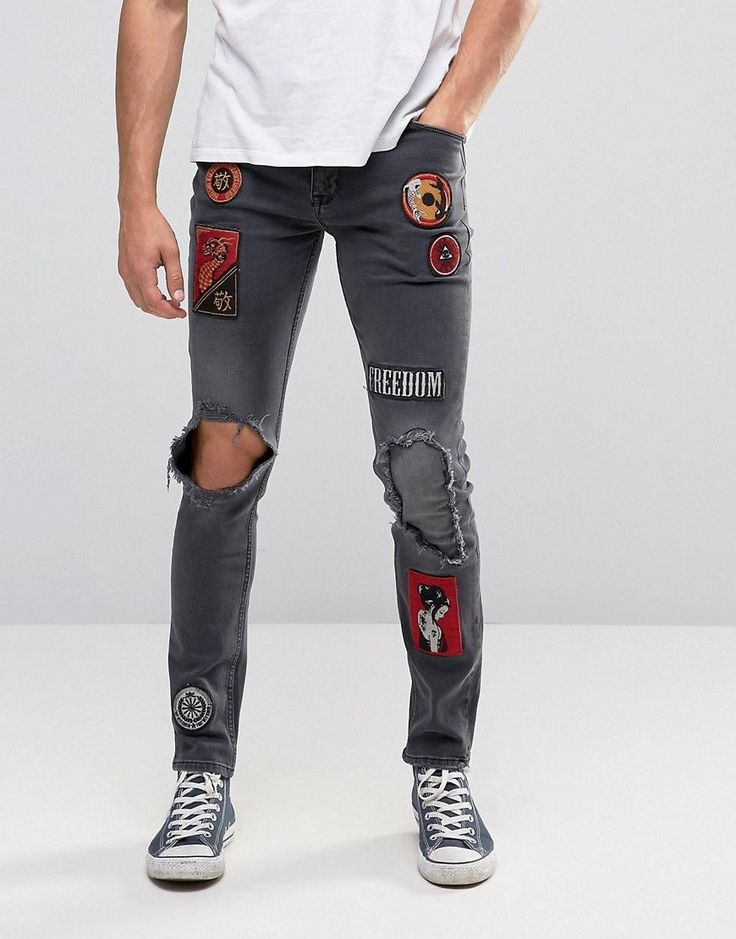 Image 1 of ASOS Skinny Jeans With Badges And Rip Detail