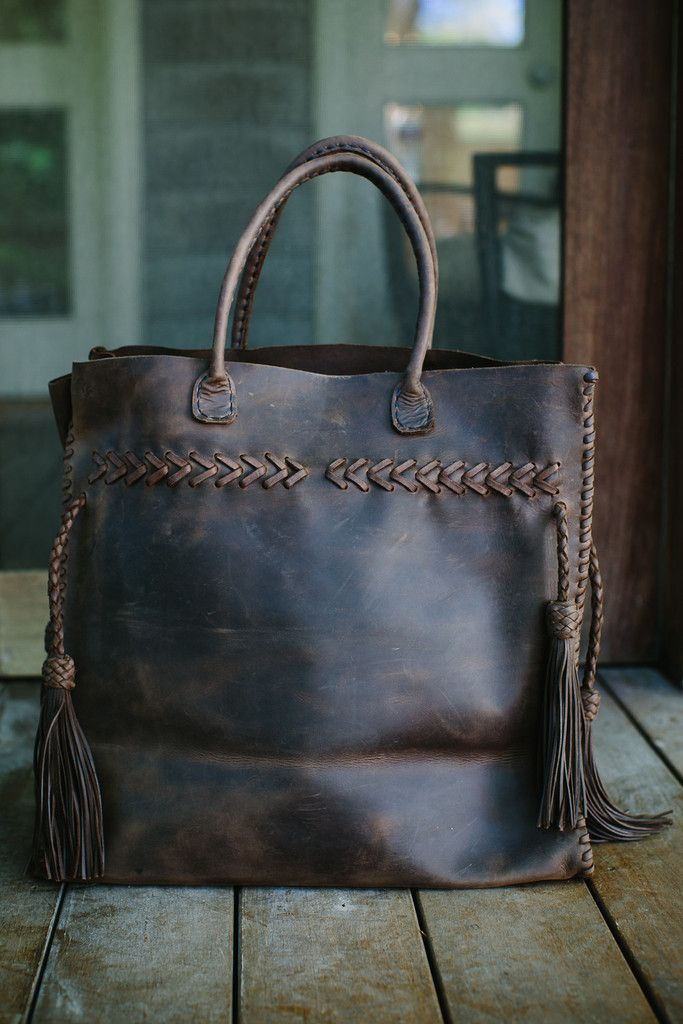 The Begonia Weekender - extra large dark brown tote