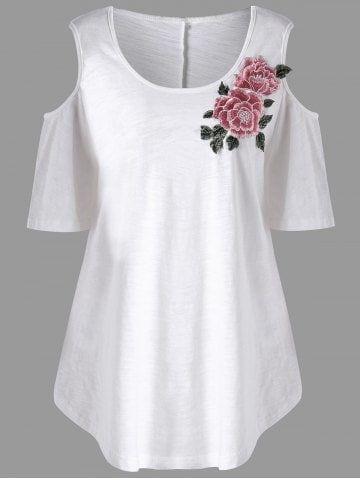 0d9695e76367bb Plus Size Cold Shoulder Embroidery Appliqued T-shirt