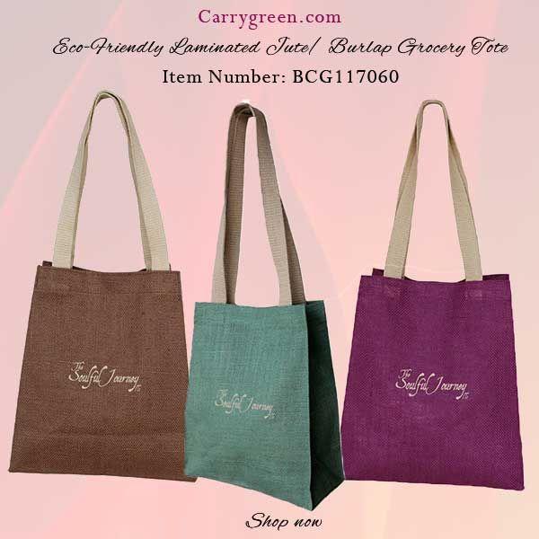 Eco-Friendly Laminated Jute/ Burlap Grocery Tote  Item Number: BCG117060   #jutebags #totebags #jutebags #naturalbags #imprintedbags #welcomebags #personalizedbags #weddingbags #carrygreen #carrybags #holidaygiftbag #personalizedgiftbags #holidaygiftideas #holidaysgifts #giftbags #grocerybag #burlapbag #burlpaholidaybag #ecofriendlybags #reusablegiftbags #carrygreenbags #greenbags #ecobags #totes #everydaytotes #sturdytotes