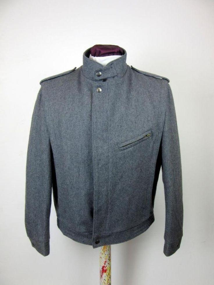 VINTAGE LE TIGRE light grey BOMBER JACKET wool blend MEDIUM made in u.s.a cj25  | eBay