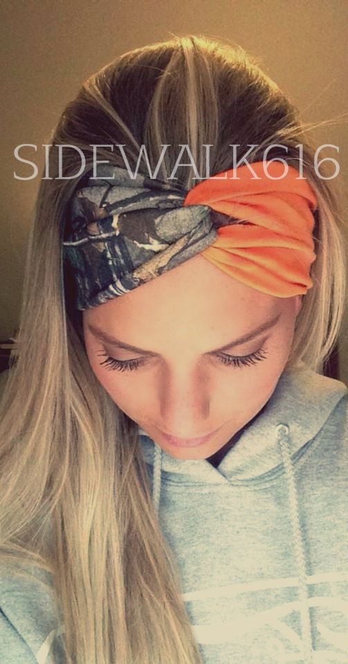 Camo and Blaze Orange Headband Turban Style Headband Hunting Headband (14.00 USD) by Sidewalk616