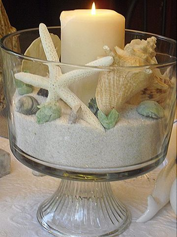 The sea..gorgeous table decoration using a trifle dish, some seashells, a candle, and some decorative sand...