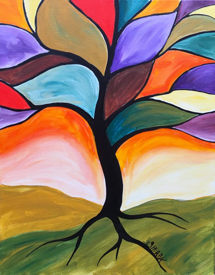 Fall Stained Glass Tree Easy Peasy Acrylic Painting Lesson For Beginners This Is A Simple