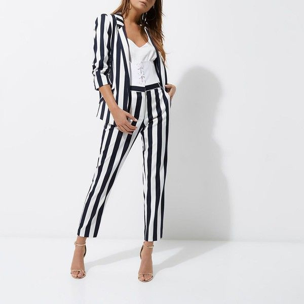 River Island White and navy stripe ruched sleeve blazer (€98) ❤ liked on Polyvore featuring outerwear, jackets, blazers, open front blazer, river island jackets, stripe blazer, tall blazer and striped blazer