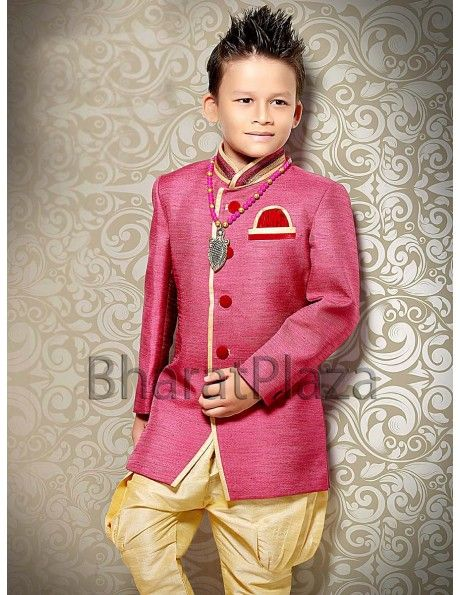 Stunning pink color indo western sherwani for your little boy. Paired with dark cream color breeches.