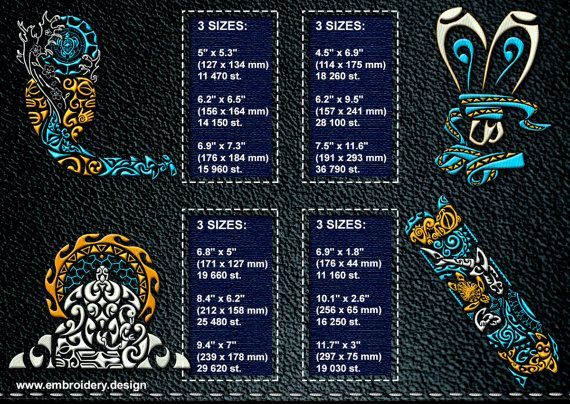 Polynesian Tattoo Abstraction embroidery designs pack by EmbroSoft