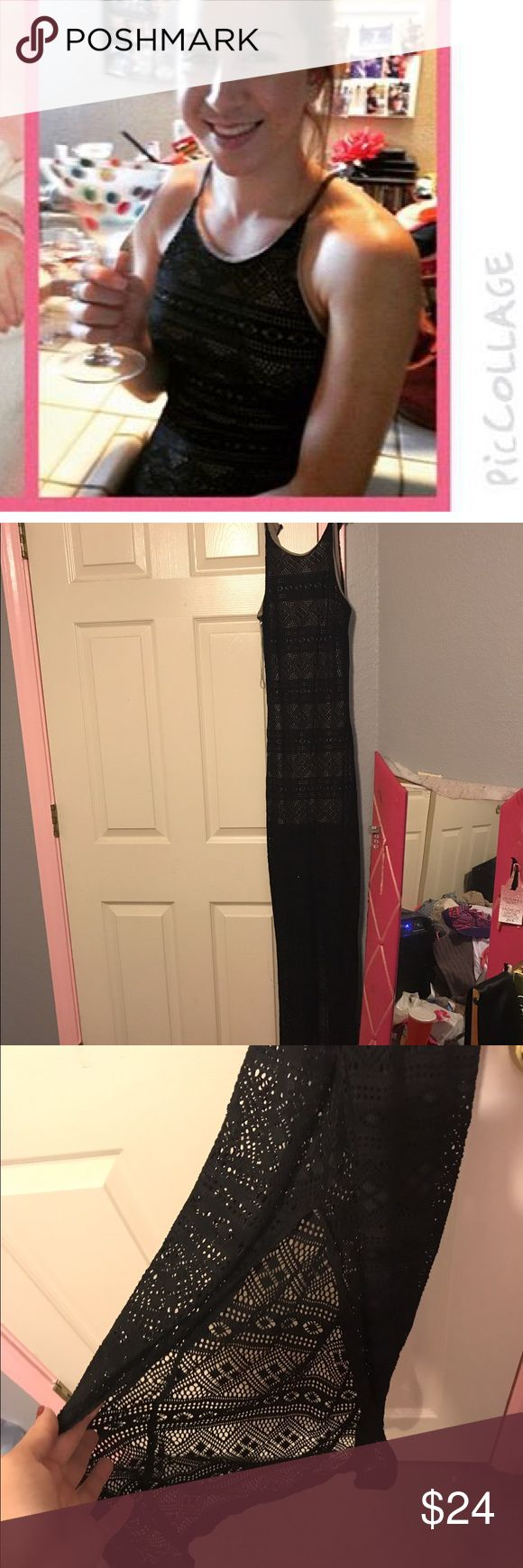 Black and Nude maxi dress beautiful black and nude maxi dress, form fitting has slit in the back as pictured. only worn a handful of times still in EUC Love Culture Dresses Maxi