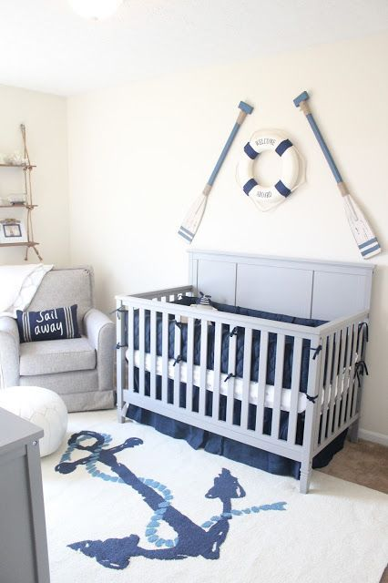Wow! Love the rug in this nautical theme nursery