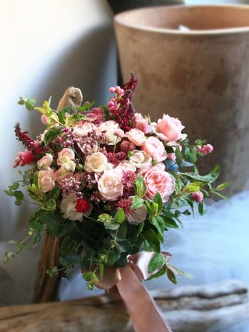 エバーグリーン花日記:秋のピンクのナチュラルブーケ