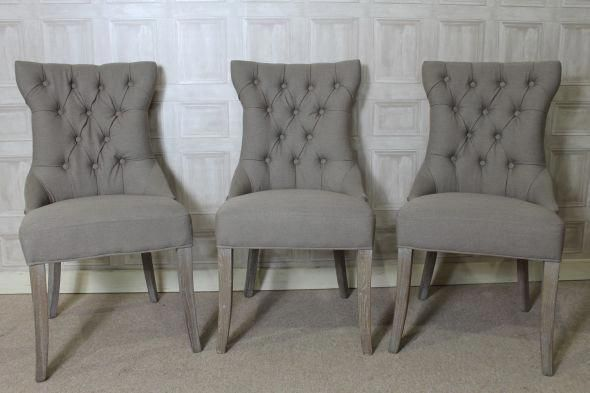 FRENCH STYLE BUTTON BACK DINING CHAIR UPHOLSTERED CHAIR IN STONE LINEN