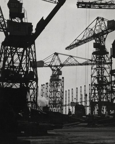 Cranes, Cammell Laird Shipyards, Liverpool  - Photographer E.O. Hoppé the undisputed leader of pictorial portraiture in Europe, 1928