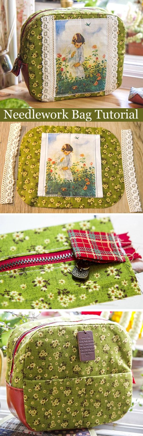 A Bag for Needlework in Process. DIY tutorial in pictures.  http://www.handmadiya.com/2015/09/needlework-bag-tutorial.html