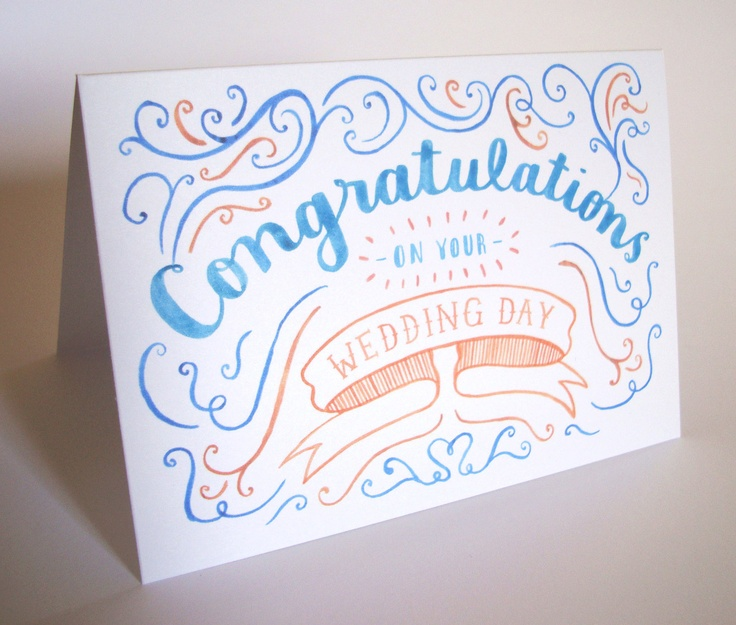 hand drawn Congratulations On Your Wedding Day card. £2.20, via Etsy.