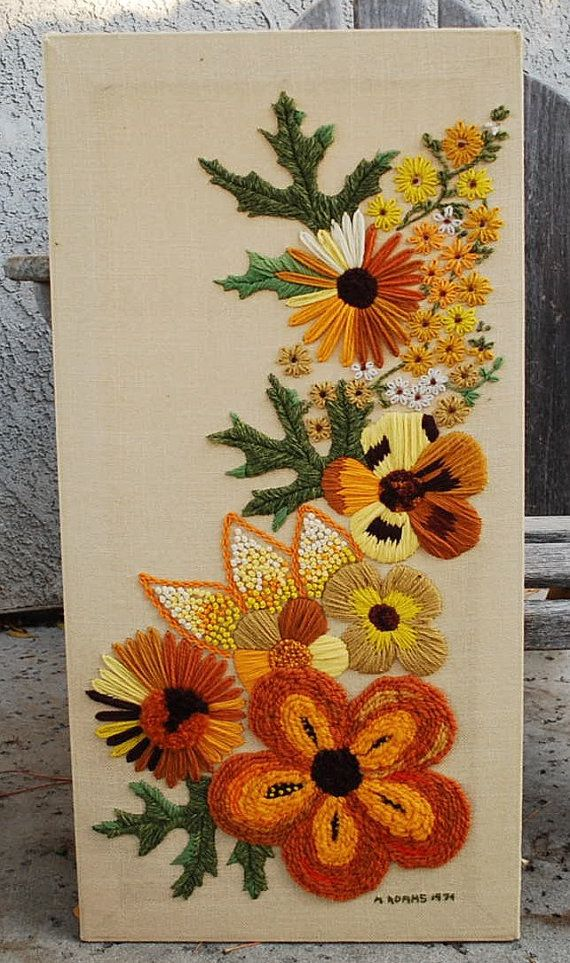 Vintage Crewel Embroidery Wall Hanging by vintagebitsandpieces