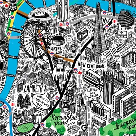 London by Hand by Jenni Sparks at Dezeen Super Store // The poster includes pubs, parks and Tube lines as well as a few projects we've featured on Dezeen, such as Renzo Piano's Shard and the restored Cutty Sark in Greenwich. // I like me some hand drawn maps, that's for sure
