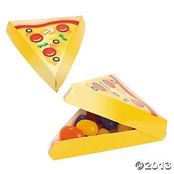 Oriental Trading - Mini pizza boxes $3.50/dozen.