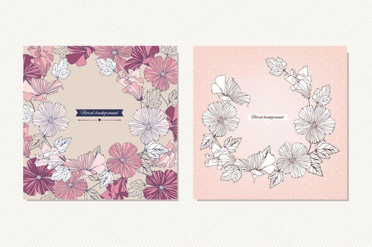 Vector hibiscus flowers cards by ievgeniia on Creative Market