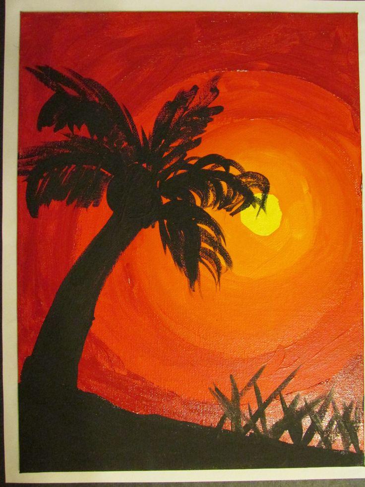 "3rd grade palm tree silhouette painting on canvas board; 9"" X 12"" ; lesson by art teacher: Susan Joe"