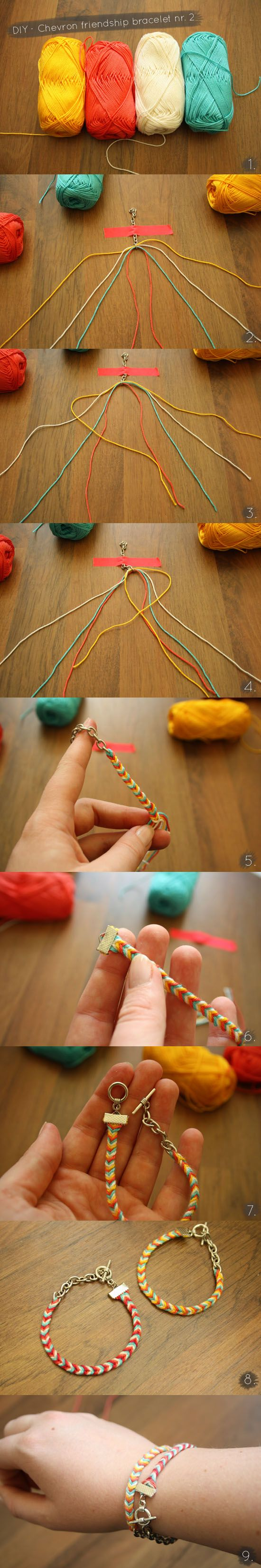 chevron friendship bracelet nr 2 tutorial, love the way they clasp it, so much easier than tying and retying every time you have to take it off and put it back on
