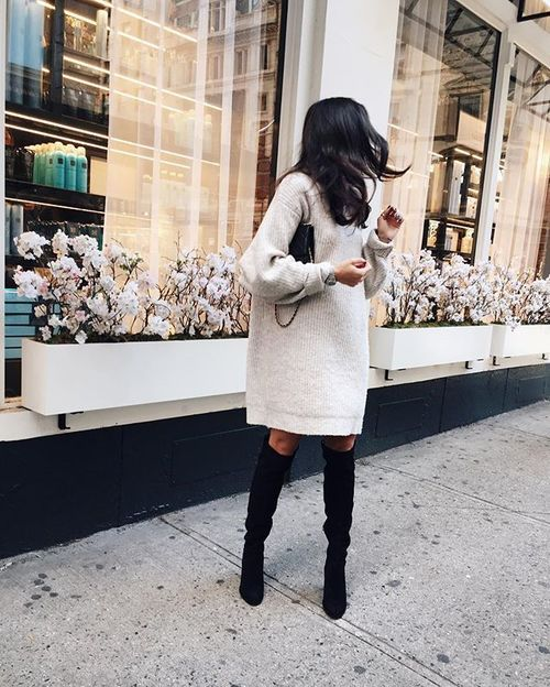 Jumper dress and high boots                                                                                                                                                                                 More