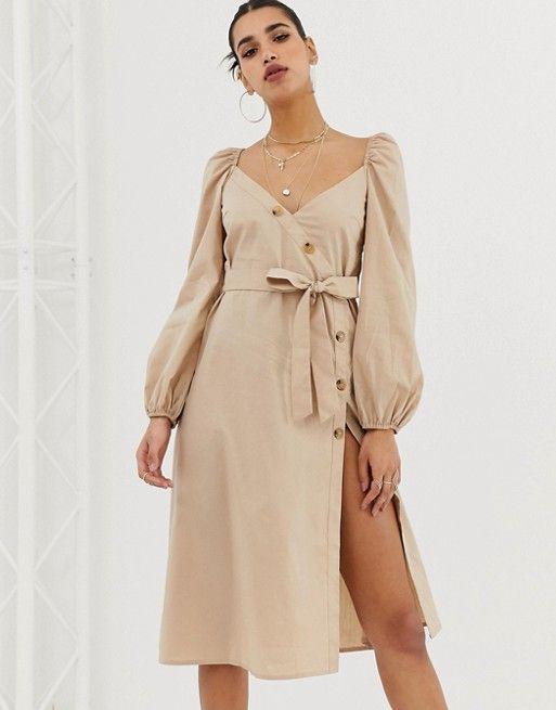 9bf131a22e61a Boohoo | Boohoo asymmetric button through midi dress with gathered puff  sleeve in stone