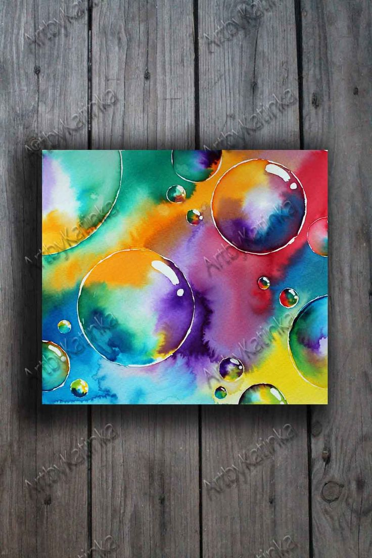 Original Watercolor Painting, Abstract Art, Bubble, Colorful, Anniversary, Birhday gift, Wall Art, Home Decor, Painting Art, Paintig Gift by ARTbyKatinka on Etsy