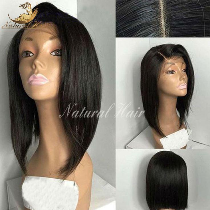 Brasil perawan rambut renda depan wig pendek rambut manusia penuh renda bob lace wig rambut manusia wig untuk wanita hitam dengan bayi rambut