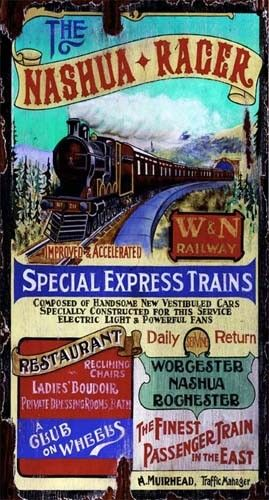 Nashua Racer - Vintage Train Sign: Custom Vintage Signs