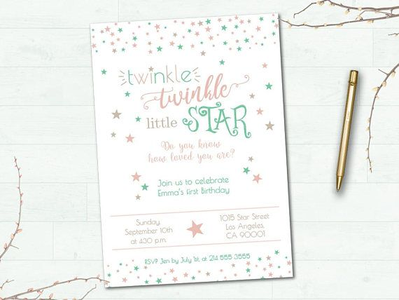 Twinkle Twinkle little star Birthday Invitation Party