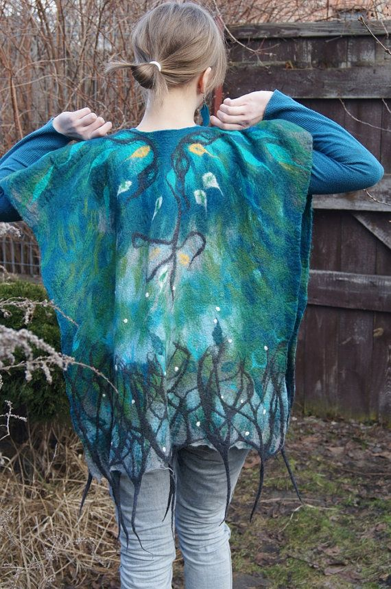 Nuno felted turquoise poncho elven robe fairy clothing by filcAlki