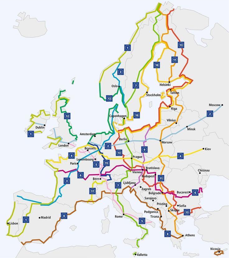 Les 15 itinéraires du projet Eurovélo (©Eurovelo.com)