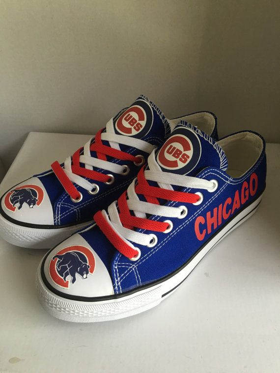 chicago cubs tennis shoes by sportshoequeen on Etsy