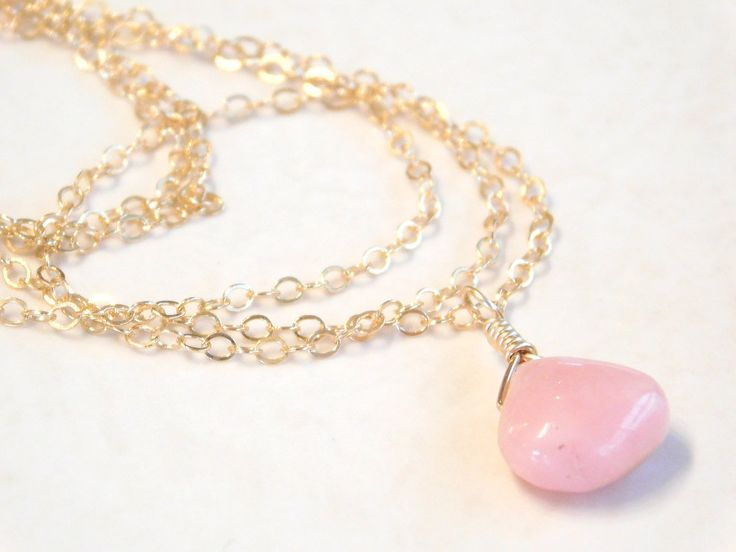 Opal necklace, Pink Opal Pendant on Dainty 14K Gold Fill or Sterling Silver Chain by jljewellerydesign on Etsy