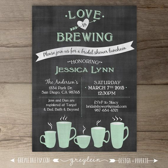 Love is Brewing • Bridal Shower • Wedding / Engagement Party • Coffee Mugs Tea Party • Chalkboard Invitation • DIY Printable • by greylein
