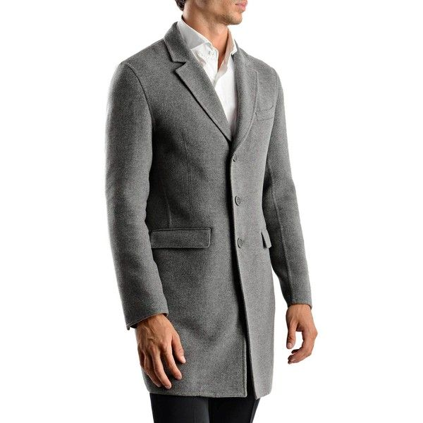 Herno Grey Wool Overcoat (24,620 MXN) ❤ liked on Polyvore featuring men's fashion, men's clothing, men's outerwear, men's coats, mens gray wool coat, mens grey wool coat, mens grey coat, mens wool coat and mens gray pea coat