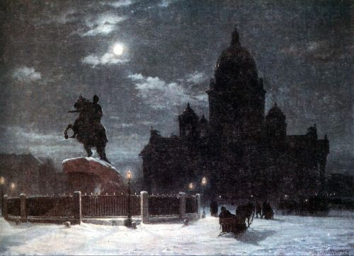 View of Monument to Peter I on the Senate Square in St. Petersburg, Vasily Surikov, 1870