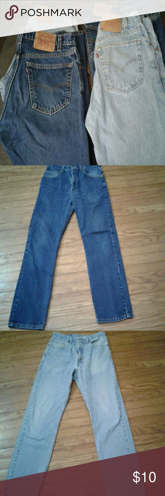 Men's Levi 505 Jeans 4 pair of Levi 505 Jeans for $32!  Or $10 each. Closet clean out.  size 33X30. 2 dark blue 2 washed blue. Great condition! Great deal! Levi's Jeans Straight