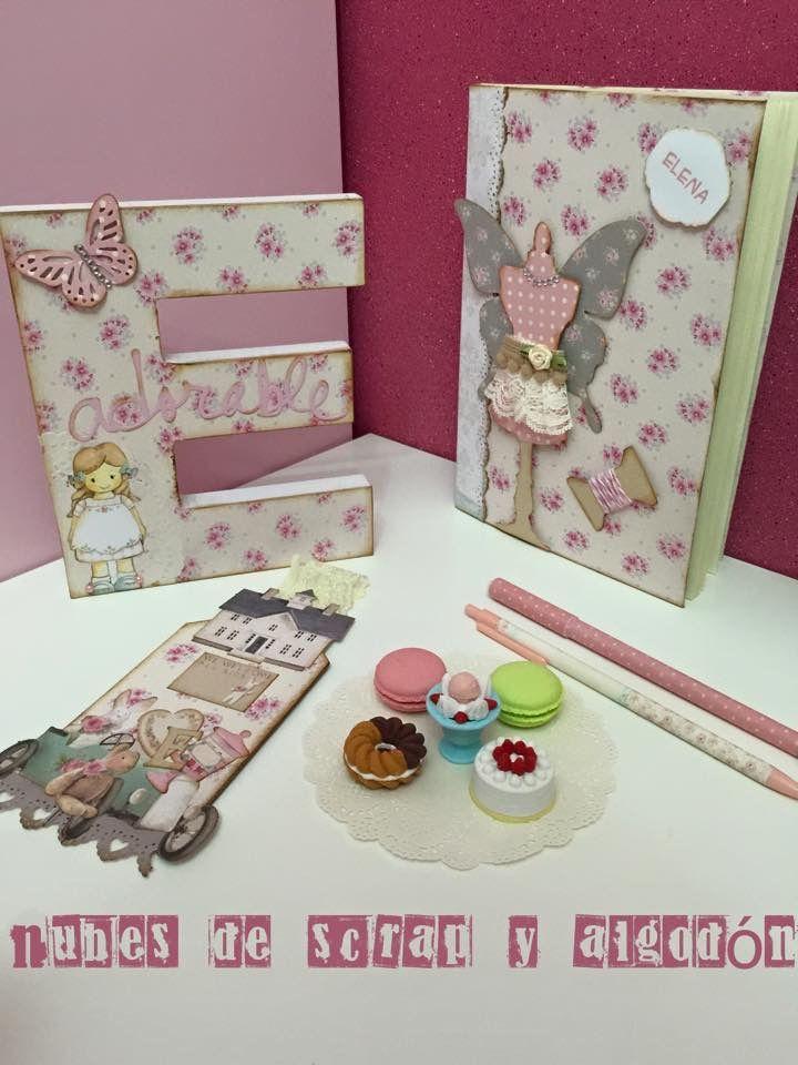 Pack para Elena by Nubes de Scrap y Algodón. Inicial, Libreta alterada, marca páginas, gomas dulces, boligrafo y portaminas
