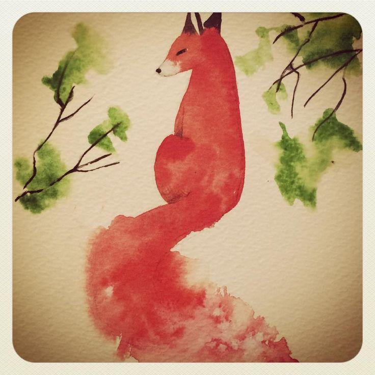 #fox #redfox #watercolor #kitsune