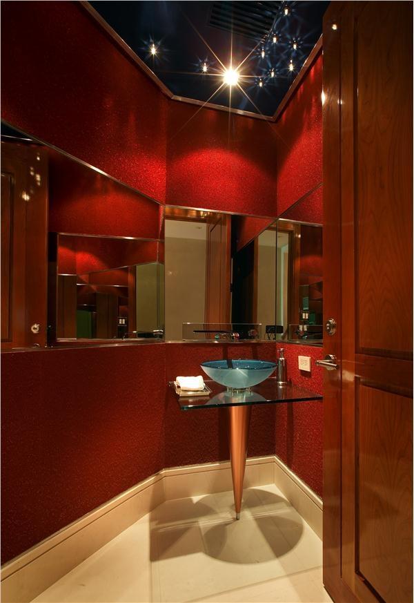 Contemporary Modern Retro Red Bathroom By Pepe Calderin