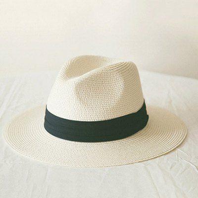 Fresca de verão chique preto Banda Panamá chapéu de palha para as Mulheres - Digbest Brasil