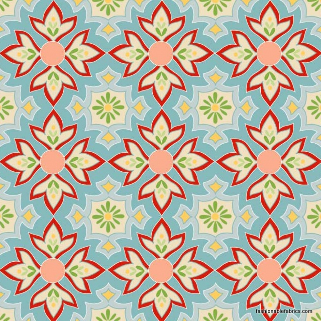 Riley Blake Designs Fabric | Delighted Mosaic Blue by Riley Blake Designs REMNANT (23X44 ...