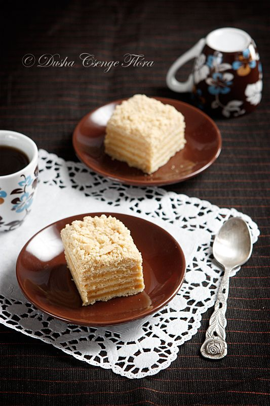 https://flic.kr/p/9mhYZ8 | Marlenka, the walnut variety | In few words about Marlenka: It is the Heaven! This dessert really special, first cakes were baked in the XX. century, Armenia. It is a fragrant, sweet and smooth cake with honey, caramel cream (dulce de leche) and in this case with walnut. Favourite sweety of my family. :)  There's another thing, how could we eat with spoon? :))) But really beauty rose spoon.. I bought it last week. I fell in love.